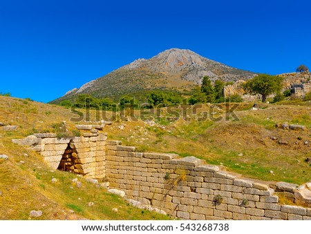 the entry of an ancient tomb in Mykines archeological area in Greece