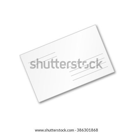 the envelope white, isolated on white background, postage supplies
