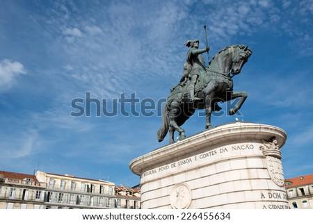 The Equestrian Statue of King John I in Praca da Figueira in Lisbon, Portugal - stock photo
