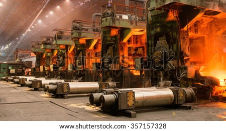 The equipment of the rolling mill for metal deformation - stock photo