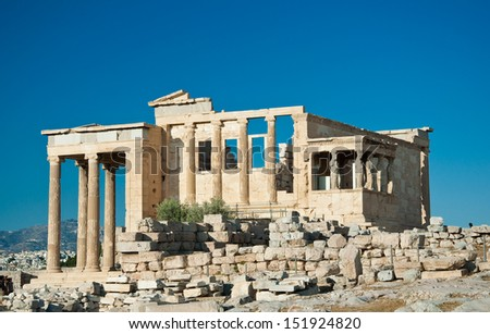 The Erechtheion on the Acropolis of Athens in Greece.
