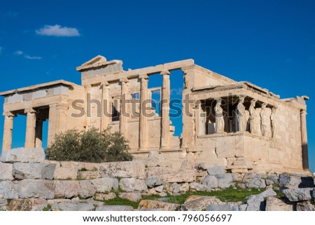 The Erechtheion or Erechtheum is an ancient Greek temple on the north side of the Acropolis of Athens in Greece which was dedicated to both Athena and Poseidon