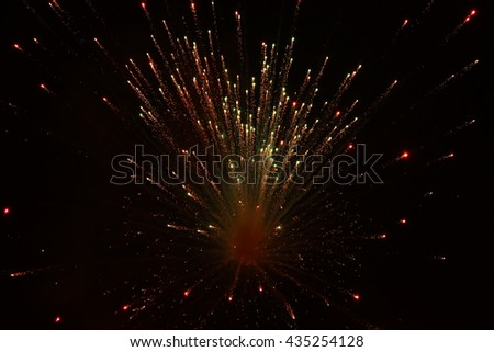 The eruption of fireworks on a black background.