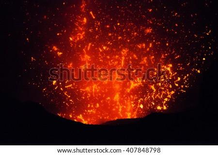 The eruption of the volcano Yasur on Tanna Island, Vanuatu - stock photo