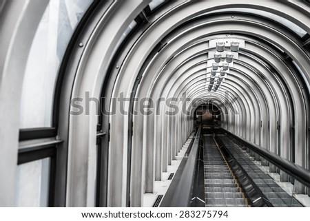 The escalator in Umeda Sky Building - Osaka Japan Travel - stock photo