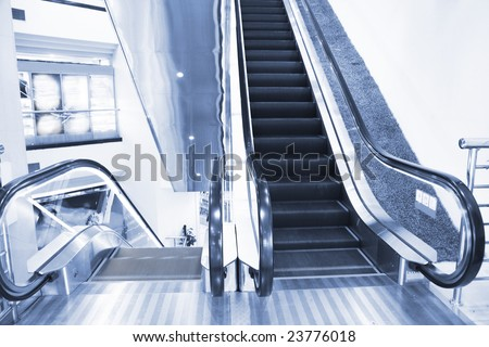 the escalator of a subway station.