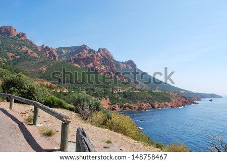 The Esterel Massif, red rocks on the Corniche d'Or road on Mediterranean sea, Var, Provence, France