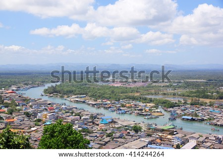 The estuary of a river with blue sky background.