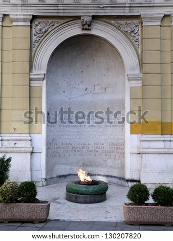 The Eternal Flame (Vjecna vatra) is a memorial to the military and civilian victims of the Second World War in Sarajevo, Bosnia and Herzegovina. The memorial was dedicated on 6th April 1946