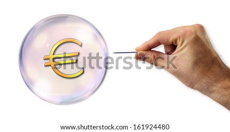 The Euro bubble about to be exploited - stock photo