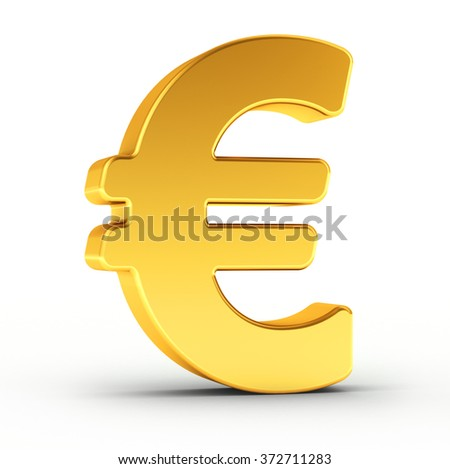 The Euro symbol as a polished golden object over white background with clipping path for quick and accurate isolation.