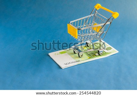 "The European currency ""Euro"" for shopping trolleys. - stock photo"