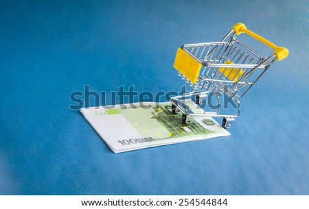 """The European currency """"Euro"""" for shopping trolleys. - stock photo"""