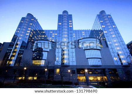 The European Parliament building from Brussels (Bruxelles), Belgium, in evening light. - stock photo