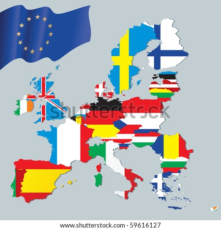 the European Union map with flags