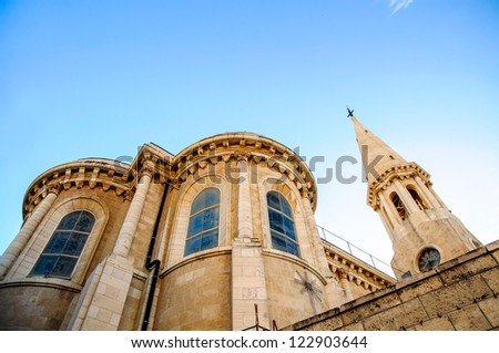 The Evangelical Lutheran Christmas Church in Bethlehem, - stock photo