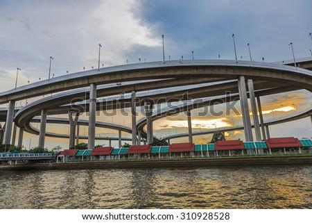 The  evening at Bhumibol Bridge in Bangkok, Thailand - stock photo