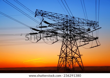 The evening electricity pylon silhouette