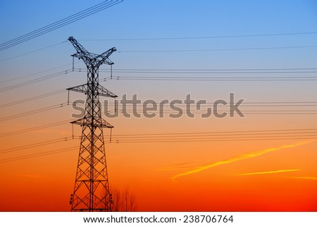 The evening of the pylon outline - stock photo
