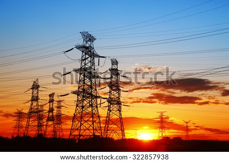 The evening of the pylon outline, is very beautiful - stock photo