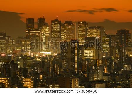 The evening of Tokyo Shinjuku, Japan - stock photo