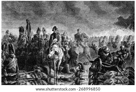 The evening of Waterloo, vintage engraved illustration. History of France 1885. - stock photo