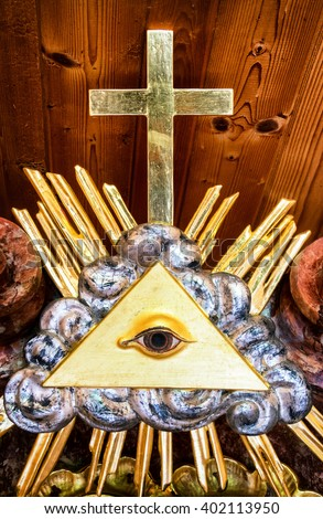 the everything seeing eye at a historic tombstone - stock photo