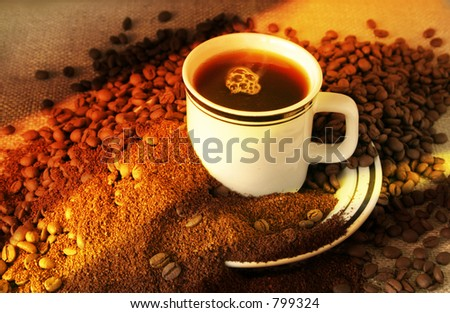 The Evolution of Coffee... From beans, to grounds, to a hot, delicious cup of coffee. - stock photo