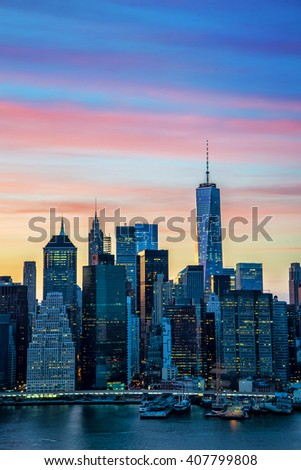 The evolving Downtown Manhattan skyline - stock photo