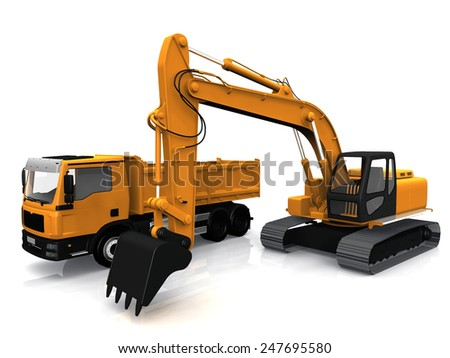 the excavator and truck - stock photo