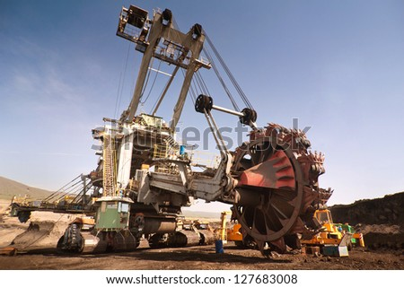 the excavator in coal opencast - Most - Czech Republic - stock photo