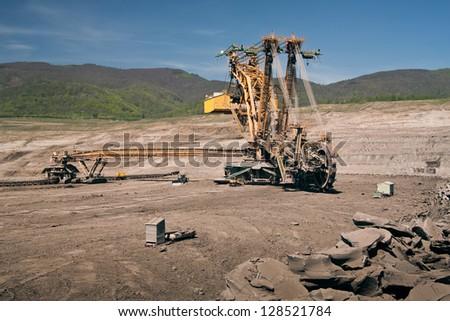 the excavator in coal opencast - Most - Czech Republic - stock photo