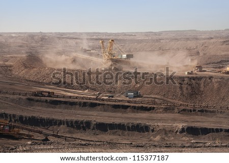 the excavator in coal opencast near Most - Czech Republic
