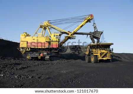 The excavator the kovshovy, career heavy-load car - stock photo