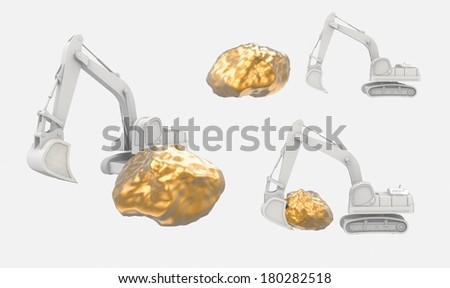 The excavator with gold nugget isolated on white - stock photo