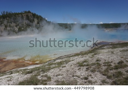 The Excelsior Geyser, Midway Geyser Basin, Yellowstone National Park - stock photo