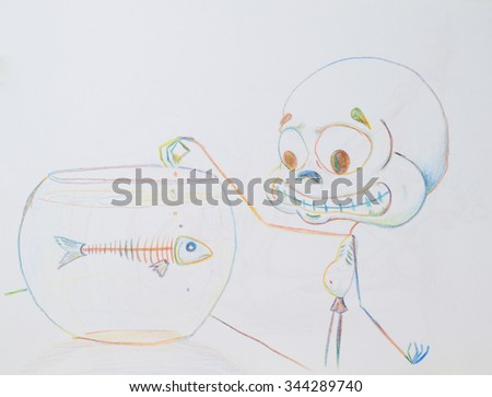 The exhausted puny creature tries to feed the died fish. Illustration of hunger and dystrophy.