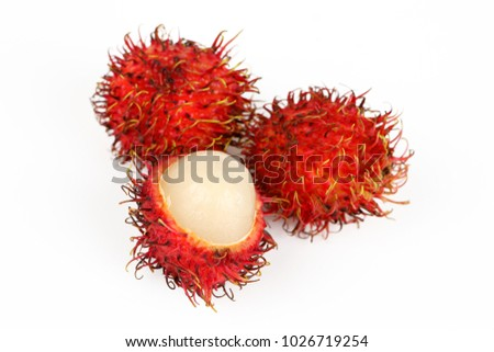 the exotic fruit rambutan with white background