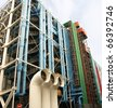 The exposed HVAC system on the Centre Georges Pompidou - stock photo