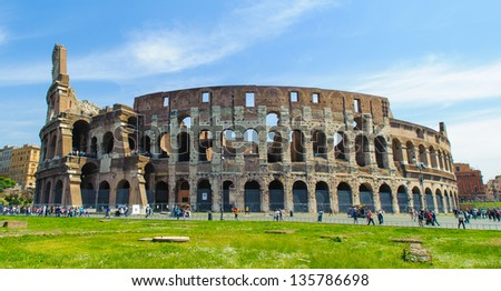 The exterior of the Colosseum, Rome, Italy.