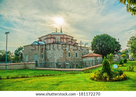 The exterior of the little Hagia Sophia, also known as the Kucuk Aya Sofya, Istanbul Turkey. HDR image. - stock photo