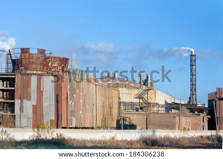 the exterior of the old chemical plant - stock photo