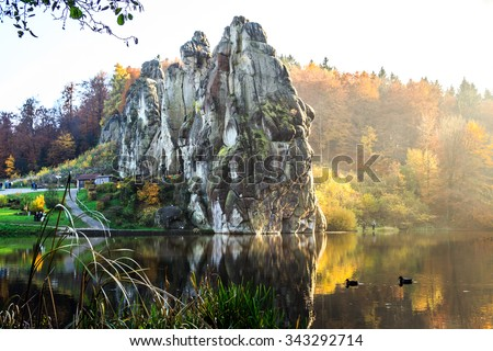 The Externsteine in the Teutoburg Forest,Germany,North Rhine-Westphalia - stock photo