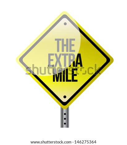 the extra mile road sign illustration design over white - stock photo