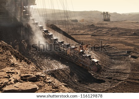 the extractive machine in opencast - Most - Czech Republic - stock photo