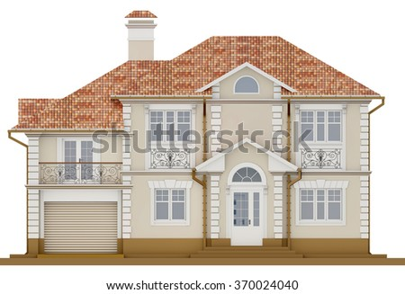 The facade of a cottage in a classic style