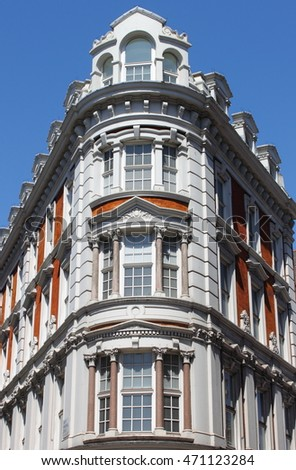 The facade of a renaissance building in London, UK