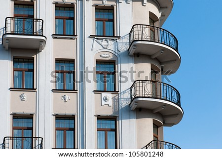 The facade of apartment building - stock photo
