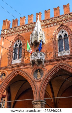 The facade of Palazzo della Mertsantsiya in Bologna. Italy - stock photo