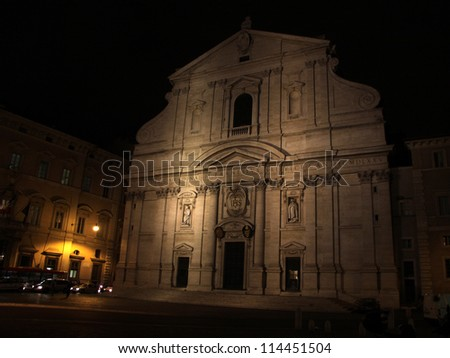 The facade of the church of San Ignazio at night, in Rome, Italy.